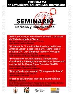 POSTER SEGUNDO ANIVERSARIO SEMINARIO DERECHO Y HUMANIDADES