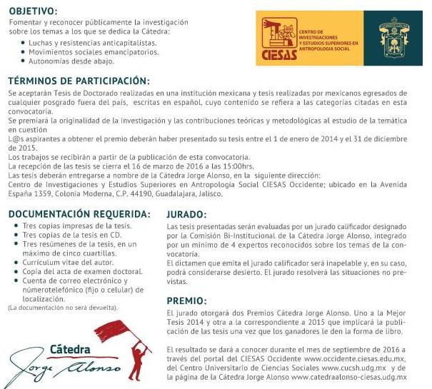 Premios Cátedra Jorge Alonso a la mejor tesis en Ciencias Sociales ...
